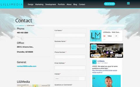 Screenshot of Contact Page lillimedia.com - Contact LilliMedia - captured July 14, 2016