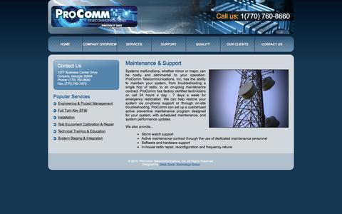 Screenshot of Support Page ptinc.org - ProComm Telecommunications, Inc. - Maintenance & Support - captured Jan. 31, 2016