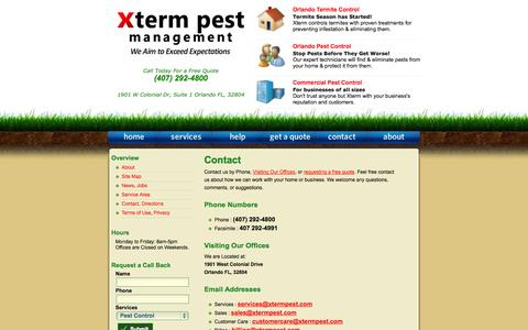 Screenshot of Contact Page xtermpest.com - Orlando Pest Control / Xterm Pest Management / Contact - captured Oct. 27, 2014