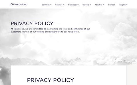 Screenshot of Privacy Page nordcloud.com - Privacy policy - captured Oct. 18, 2018