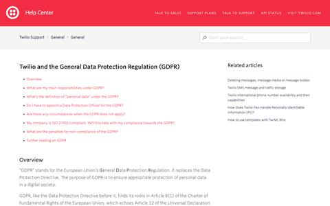 Screenshot of Support Page twilio.com - Twilio and the General Data Protection Regulation (GDPR) – Twilio Support - captured June 13, 2019