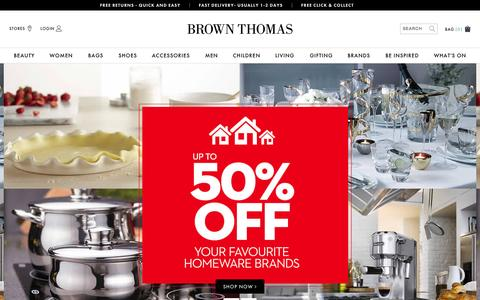 Screenshot of Home Page brownthomas.com - Brown Thomas | Designer Fashion, Beauty, Bags, Gifts & More - captured Oct. 1, 2015