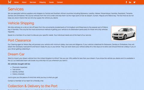 Screenshot of Services Page wa-shipping.com - WiseAngels - Services - captured Oct. 26, 2014