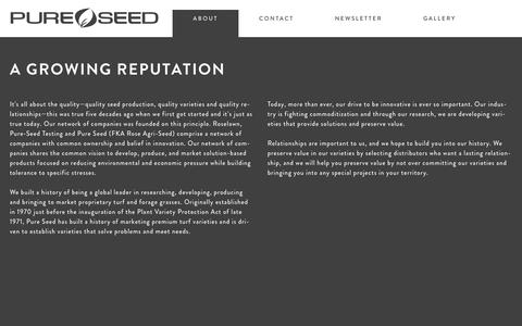 Screenshot of About Page pureseed.com - Pure Seed  A growing reputation - captured May 24, 2017
