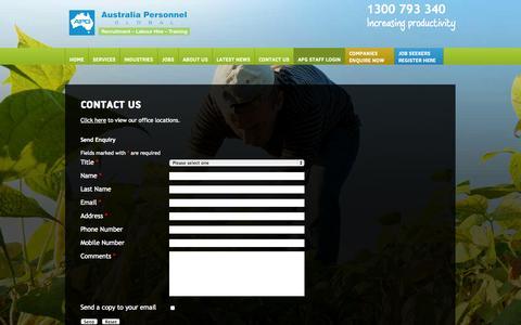 Screenshot of Contact Page apglobal.com.au - Contact Us - captured Oct. 4, 2014