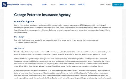 Screenshot of About Page gpins.com - George Petersen Insurance Agency | George Petersen Insurance - captured Sept. 27, 2018
