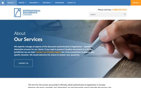 Screenshot of Services Page idocscanada.ca - Our Services - Authentication - Legalization - Apostille - Attestation| IDC : International Documents Canada - captured Nov. 14, 2018