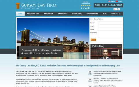Screenshot of Home Page gursoylaw.com - Brooklyn Immigration Lawyer | Brooklyn Bankruptcy Lawyer | Immigration Attorney - captured Oct. 3, 2014