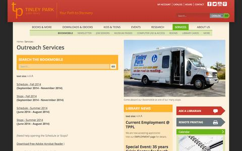 Screenshot of Services Page tplibrary.org - Outreach Services   Tinley Park Public Library - captured Oct. 7, 2014