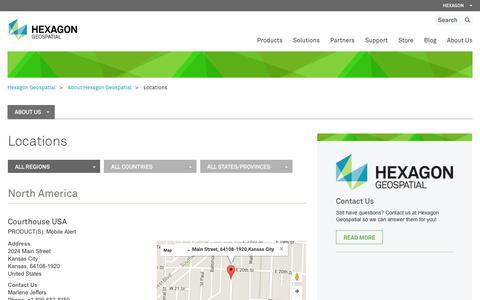Screenshot of Locations Page hexagongeospatial.com - Locations - captured Jan. 29, 2016