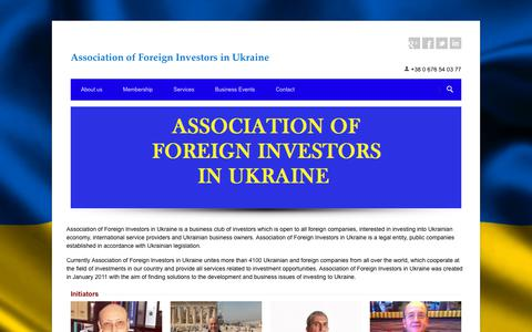 Screenshot of Home Page afi-ukraine.org - Association of Foreign Investors in Ukraine - Association of Foreign Investors in Ukraine - captured Oct. 9, 2017