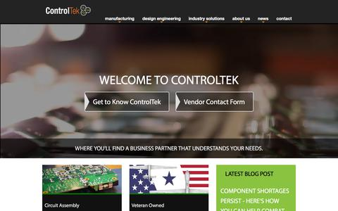 Screenshot of Home Page controltek.com - ControlTek Electronic Manufacturing Services Provider - captured July 21, 2018