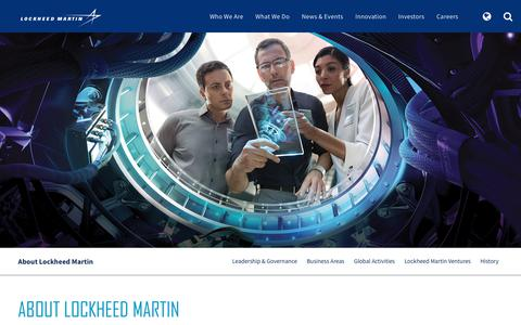 Screenshot of About Page lockheedmartin.com - About Lockheed Martin - captured April 22, 2018