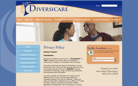 Screenshot of Privacy Page dvcr.com - Privacy Policy | Diversicare - captured Oct. 12, 2017