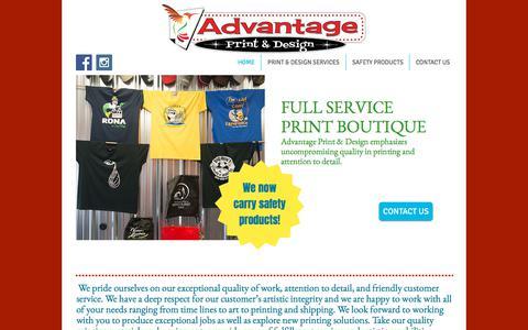 Screenshot of Home Page advantageprint.ca - Advantage Print and Design services - captured Oct. 7, 2017
