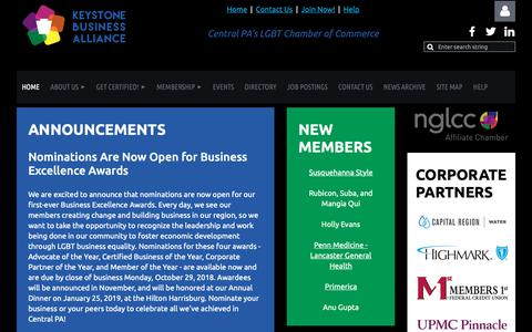Screenshot of Home Page cpglcc.org - Keystone Business Alliance - Home - captured Sept. 27, 2018