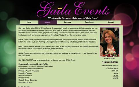 Screenshot of About Page gailaevents.com - About Gaila Events - captured Jan. 23, 2017