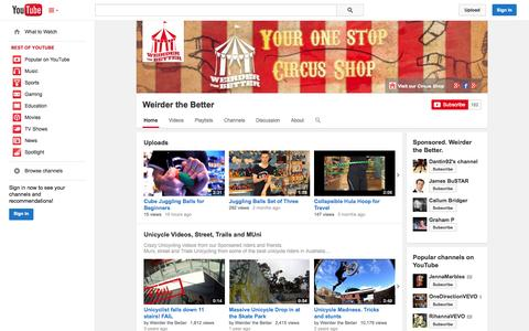 Screenshot of YouTube Page youtube.com - Weirder the Better  - YouTube - captured Oct. 26, 2014