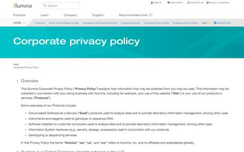 Screenshot of Privacy Page illumina.com - Corporate Privacy Policy - captured Aug. 16, 2019