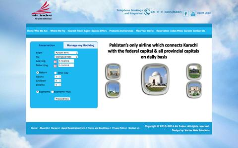 Screenshot of Home Page airindus.com.pk - Welcome to Air Indus Airline (PVT) Ltd. - captured Oct. 7, 2015