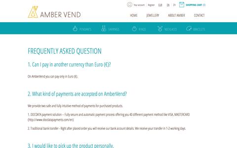 Screenshot of FAQ Page ambervend.com - FAQ - captured July 29, 2018