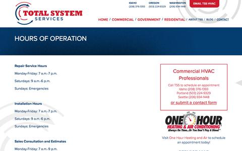 Screenshot of Hours Page tsshvac.com - Total System Services / Hours of Operation - captured Oct. 23, 2017
