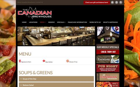 Screenshot of Menu Page thecanadianbrewhouse.com - Menu - The Canadian Brewhouse - captured June 3, 2016