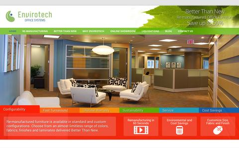 Screenshot of Home Page envirotechoffice.com - Envirotech -  Remanufactured Better Than New Office Furniture - captured Oct. 2, 2014