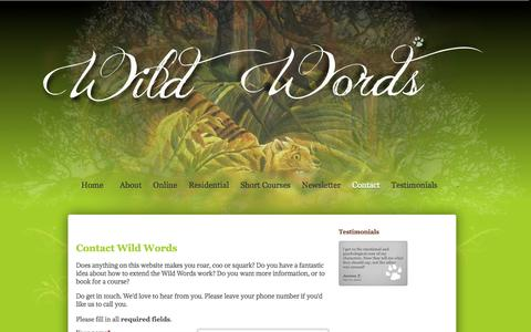 Screenshot of Contact Page wildwords.org - Contact | Wild Words - captured Oct. 26, 2014