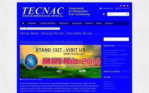 Screenshot of Blog tecnac.net - Tecnac News - Noticias Tecnac | Nouvelles Tecnac - captured Nov. 4, 2014