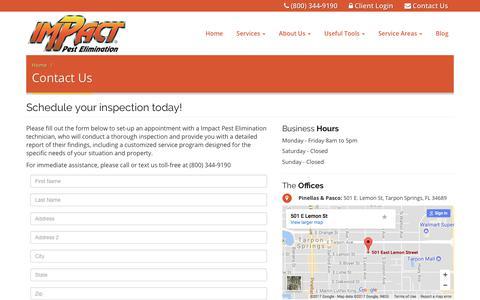 Screenshot of Contact Page impactpest.com - Contact Impact Pest Elimination - captured Oct. 14, 2017