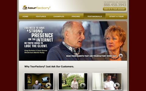 Screenshot of Testimonials Page tourfactory.com - TourFactory :: Testimonials - captured Sept. 18, 2014