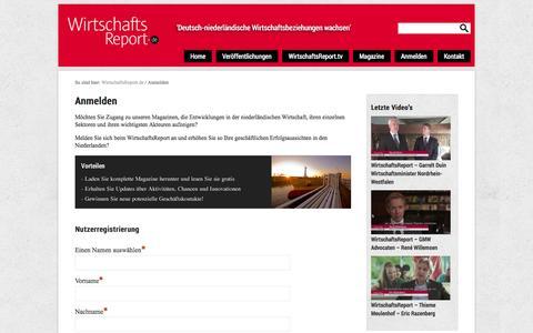Screenshot of Signup Page wirtschaftsreport.de - Anmelden | WirtschaftsReport.de - captured Nov. 5, 2014