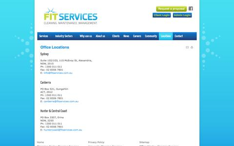 Screenshot of Locations Page fitservices.com.au - Fit Services Locations - Sydney, Canberra, Central Coast & Newcastle - captured March 7, 2016