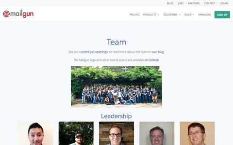 Screenshot of Team Page mailgun.com - Meet the Mailgun Leaders - Email API Service for Developers - captured May 16, 2019