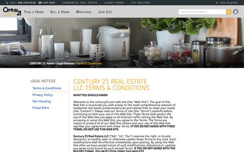 Screenshot of Terms Page century21.com - Terms and Conditions | CENTURY 21 - captured Oct. 16, 2017