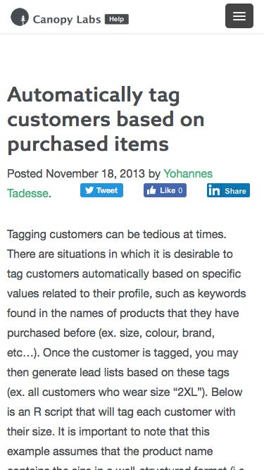 Automatically tag customers based on purchased items   Canopy Labs - Documentation