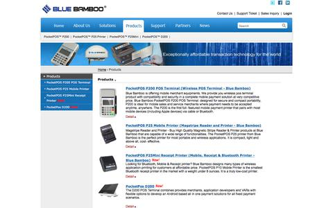 Screenshot of Products Page bluebamboo.com - Blue Bamboo - Exceptionally affordable transaction technology for the world (PocketPOS™ P200, P25 Printer, H50A Terminal etc.) - captured Aug. 2, 2018