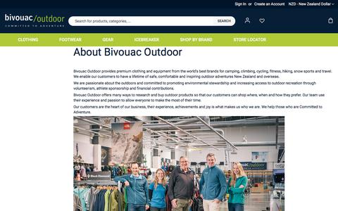 Screenshot of About Page bivouac.co.nz - About Us - captured July 16, 2019