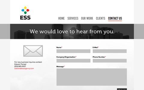 Screenshot of Contact Page essagency.com - ESS Agency - captured Dec. 6, 2015