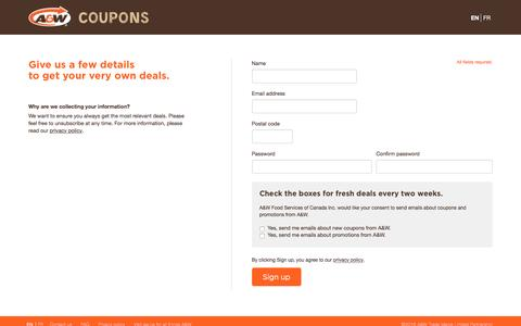 Screenshot of Signup Page awcoupon.ca - Sign up |  Get coupons and offers at A&W Canada - captured Dec. 23, 2016