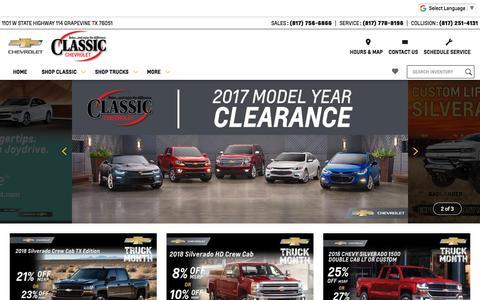 Screenshot of Home Page classicchevrolet.com - Classic Chevrolet | New & Used Chevrolet Dealer Serving Dallas & Grapevine - captured July 18, 2018