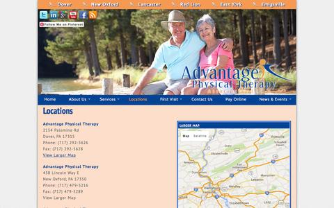 Screenshot of Locations Page gettheadvantage.org - Advantage Physical Therapy  » Locations - captured Feb. 5, 2016