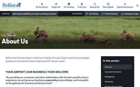 Screenshot of About Page belfastairport.com - About Us | Belfast International Airport - captured Oct. 5, 2018