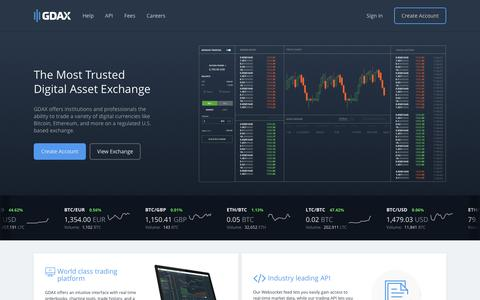 Screenshot of Home Page gdax.com - Bitcoin Exchange | Ethereum Exchange | Litecoin Exchange | GDAX - captured May 3, 2017