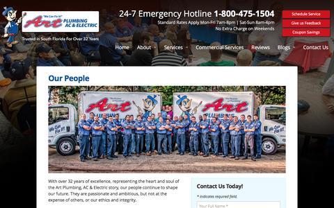 Screenshot of Team Page artplumbingandac.com - Our People - Art Plumbing, AC & Electric - captured Nov. 21, 2016