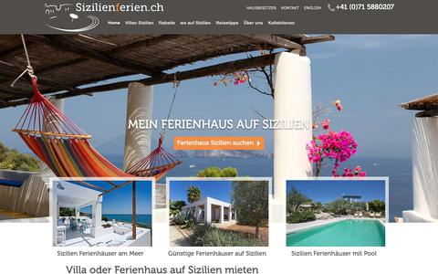 Screenshot of Home Page sizilienferien.ch - Sizilien Ferienhaus am Meer mit Pool | Luxusvilla - captured Oct. 2, 2018