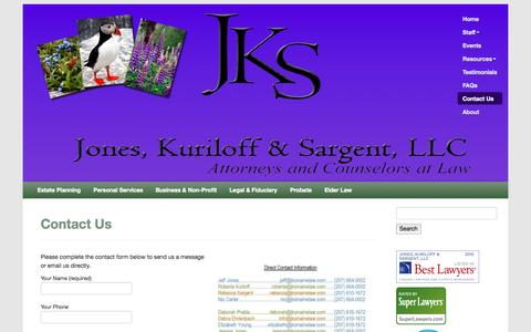 Screenshot of Contact Page joneskuriloffsargentlaw.com - Contact Us | Jones, Kuriloff & Sargent, LLC - Estate planning, elder law, probate, trustee services - captured Oct. 6, 2014