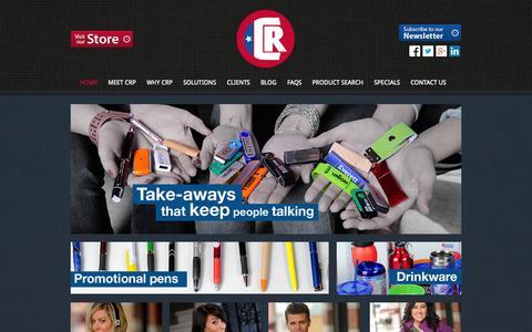 Screenshot of Home Page crpromotionsrule.com - CR Promotions | promotional products | promotional pens | awards - captured Oct. 1, 2014
