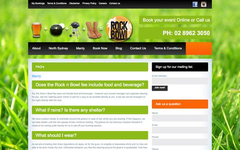Screenshot of FAQ Page rocknbowl.com.au - FAQ's | Rock n Bowl | Manly Northern Beaches Sydney | North SydneyRock n Bowl | Manly Northern Beaches Sydney | North Sydney - captured Oct. 3, 2014